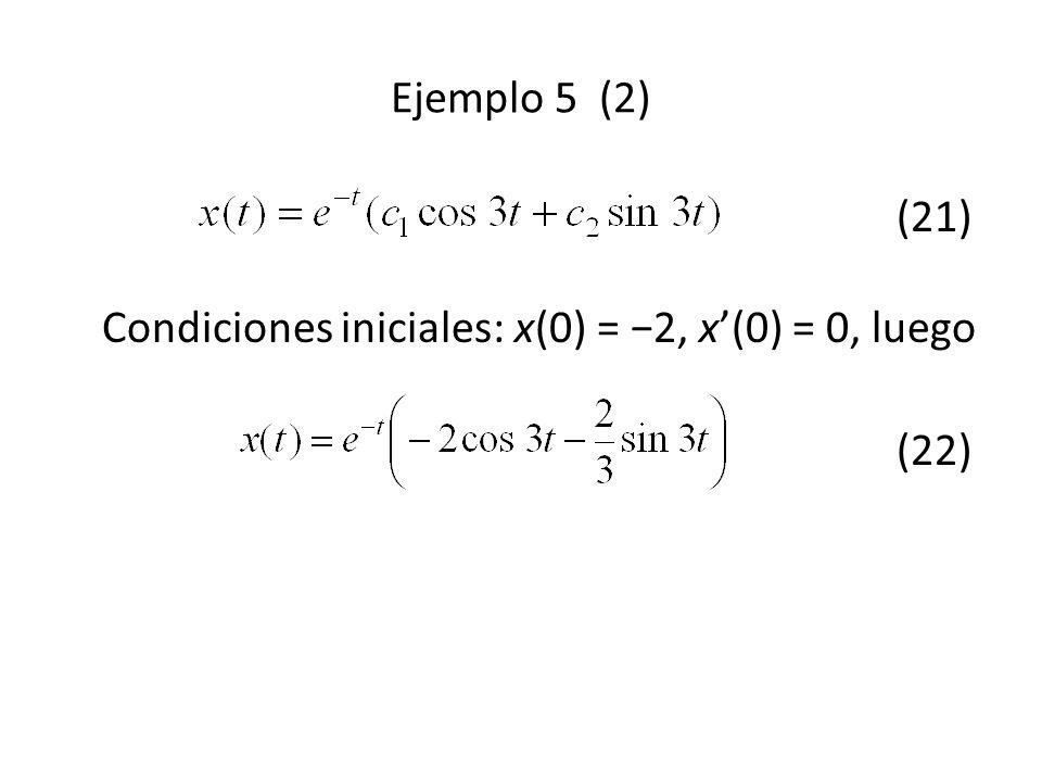 Ejemplo 5 (2) (21) Condiciones iniciales: x(0) = −2, x'(0) = 0, luego (22)