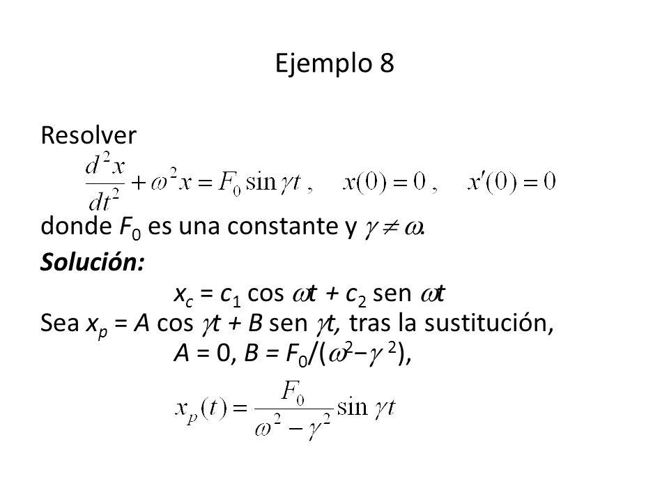 Ejemplo 8 Resolver donde F0 es una constante y   .
