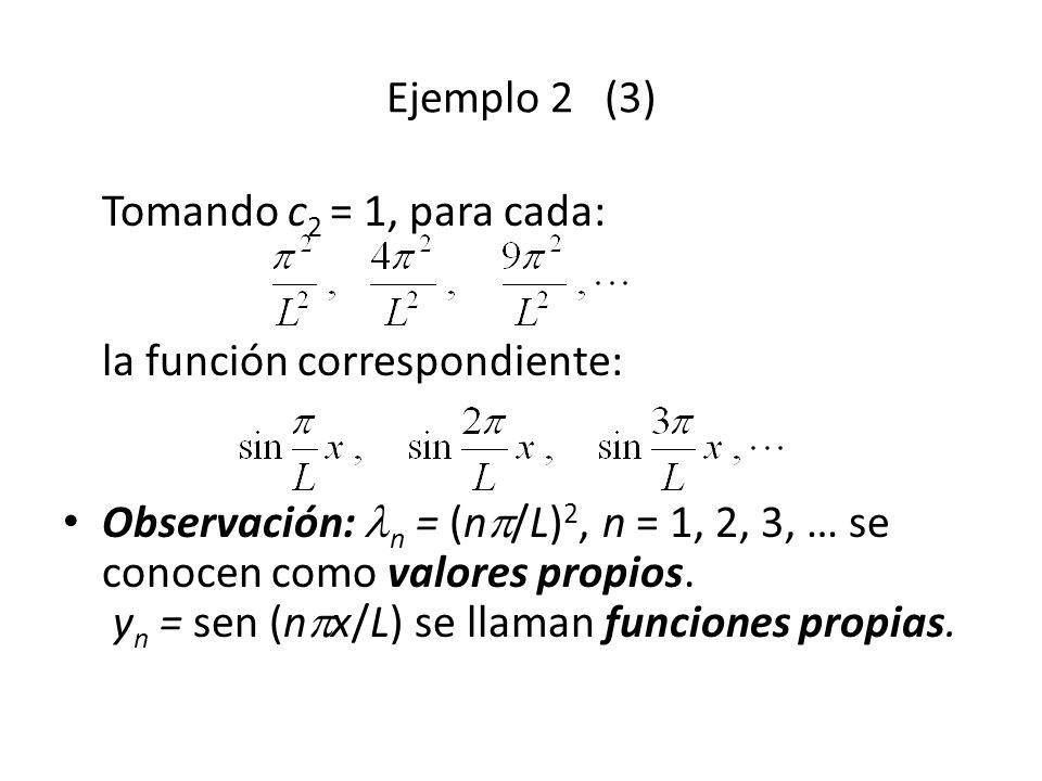 Ejemplo 2 (3) Tomando c2 = 1, para cada: la función correspondiente: