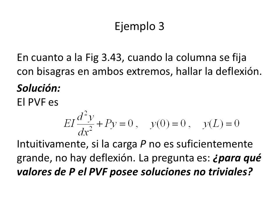 Ejemplo 3 En cuanto a la Fig 3.43, cuando la columna se fija con bisagras en ambos extremos, hallar la deflexión.