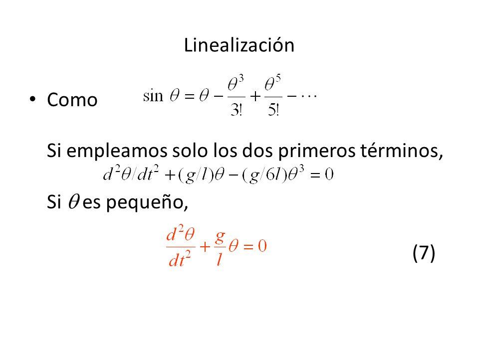 Linealización Como Si empleamos solo los dos primeros términos, Si  es pequeño, (7)