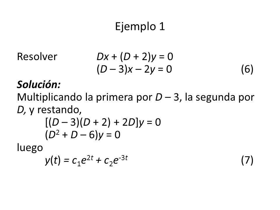 Ejemplo 1 Resolver Dx + (D + 2)y = 0 (D – 3)x – 2y = 0 (6)