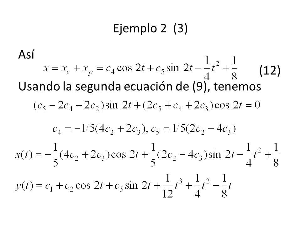 Ejemplo 2 (3) Así (12) Usando la segunda ecuación de (9), tenemos