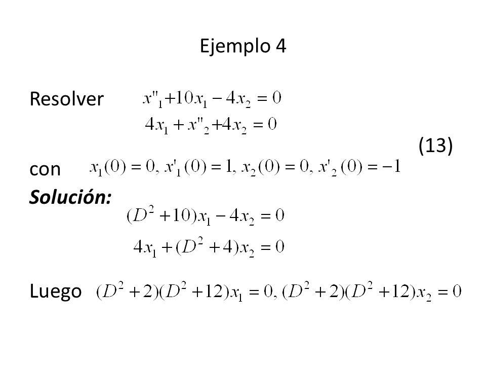 Ejemplo 4 Resolver (13) con Solución: Luego