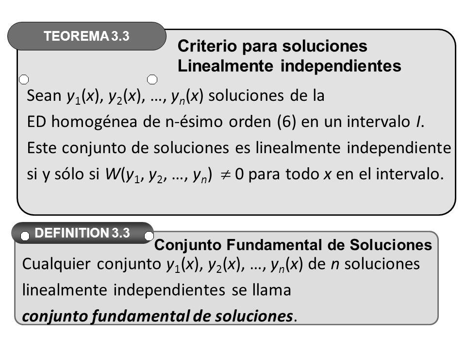 Sean y1(x), y2(x), …, yn(x) soluciones de la