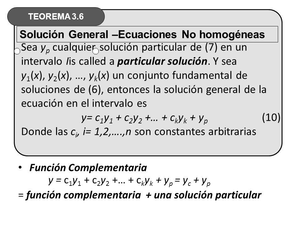Sea yp cualquier solución particular de (7) en un