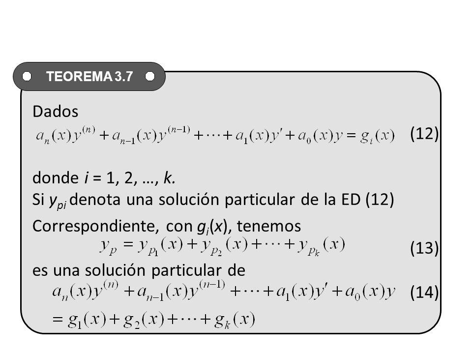 Dados (12) donde i = 1, 2, …, k. Si ypi denota una solución particular de la ED (12)