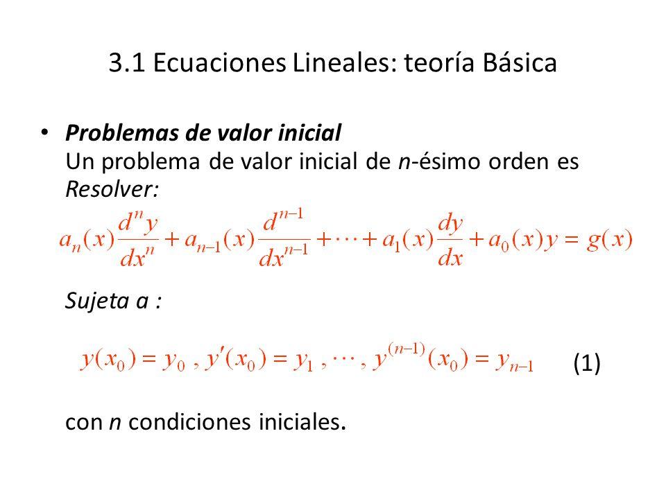 3.1 Ecuaciones Lineales: teoría Básica