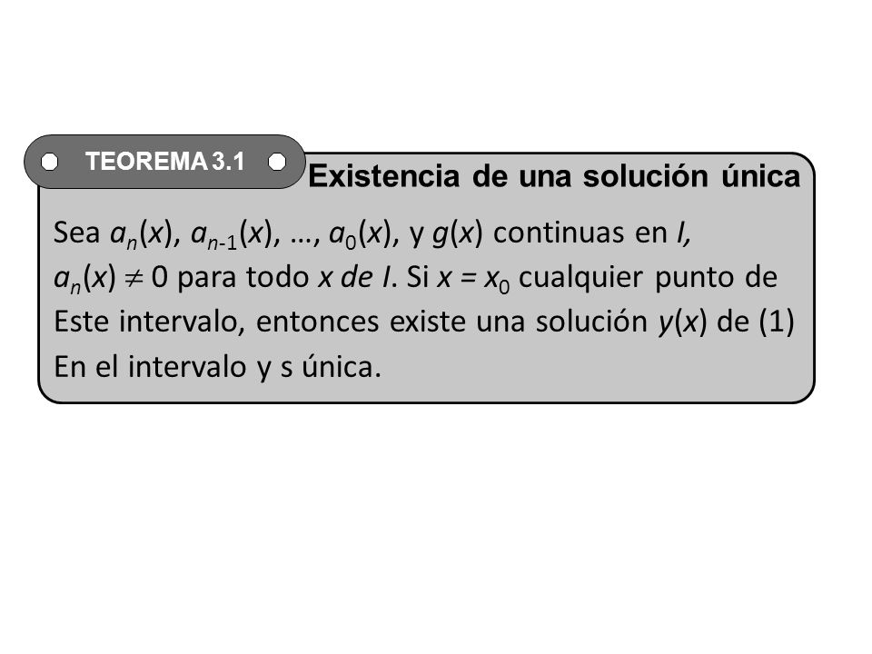Sea an(x), an-1(x), …, a0(x), y g(x) continuas en I,