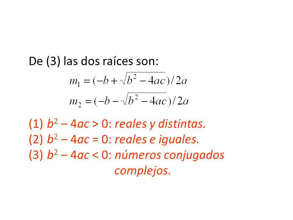 De (3) las dos raíces son: (1). b2 – 4ac > 0: reales y distintas