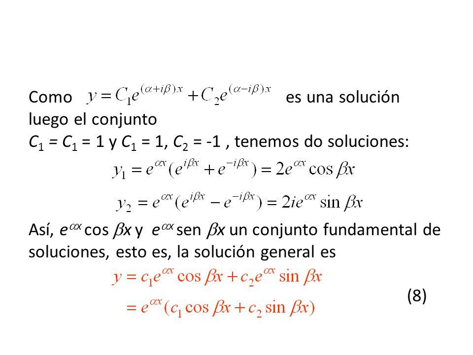 Como es una solución luego el conjunto C1 = C1 = 1 y C1 = 1, C2 = -1 , tenemos do soluciones: Así, ex cos x y ex sen x un conjunto fundamental de soluciones, esto es, la solución general es (8)