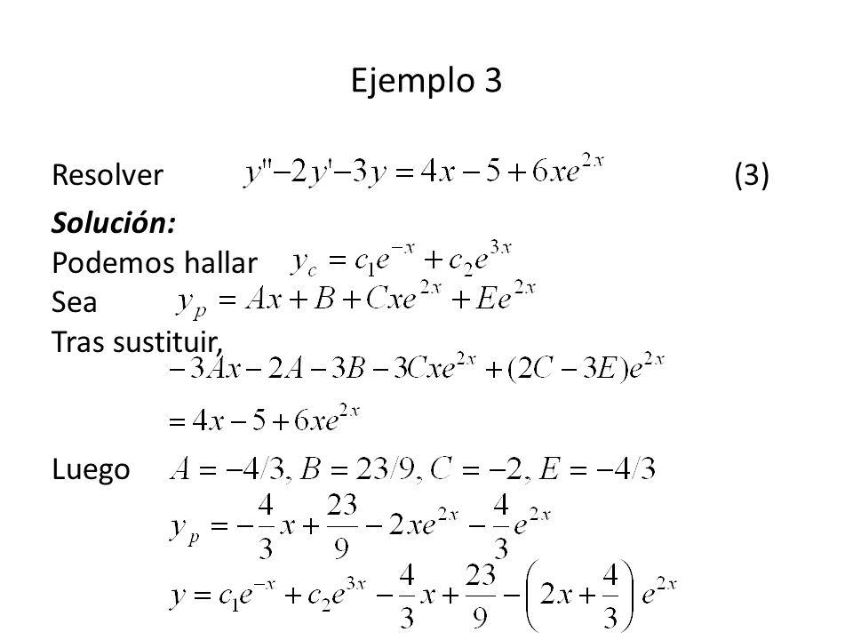 Ejemplo 3 Resolver (3) Solución: Podemos hallar Sea Tras sustituir,