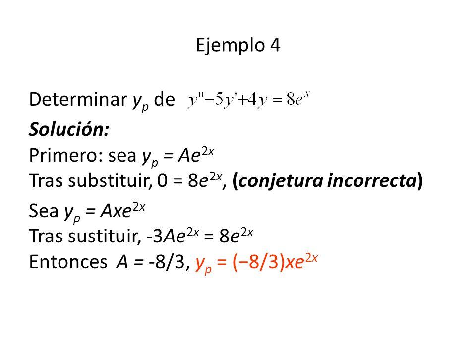 Ejemplo 4 Determinar yp de. Solución: Primero: sea yp = Ae2x Tras substituir, 0 = 8e2x, (conjetura incorrecta)