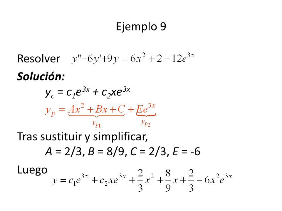 Ejemplo 9 Resolver. Solución: yc = c1e3x + c2xe3x Tras sustituir y simplificar, A = 2/3, B = 8/9, C = 2/3, E = -6.