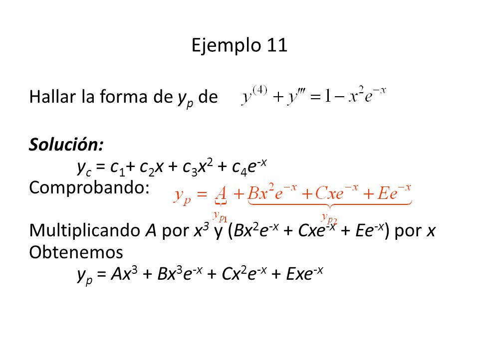 Ejemplo 11 Hallar la forma de yp de