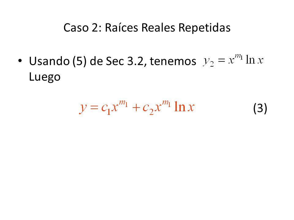 Caso 2: Raíces Reales Repetidas