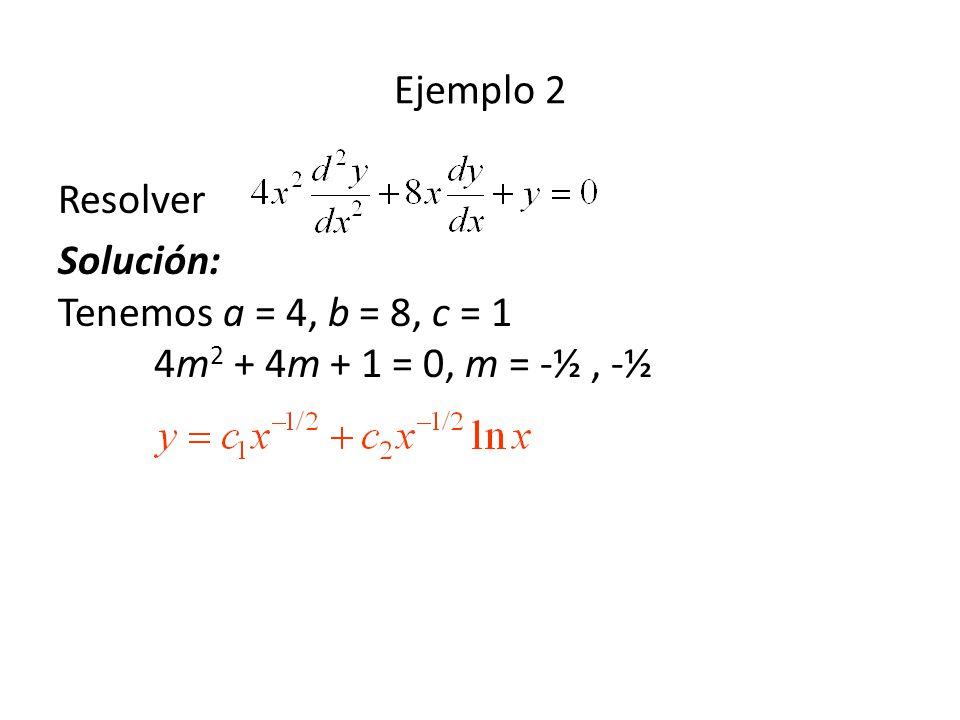 Ejemplo 2 Resolver Solución: Tenemos a = 4, b = 8, c = 1 4m2 + 4m + 1 = 0, m = -½ , -½