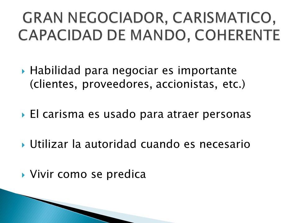 GRAN NEGOCIADOR, CARISMATICO, CAPACIDAD DE MANDO, COHERENTE