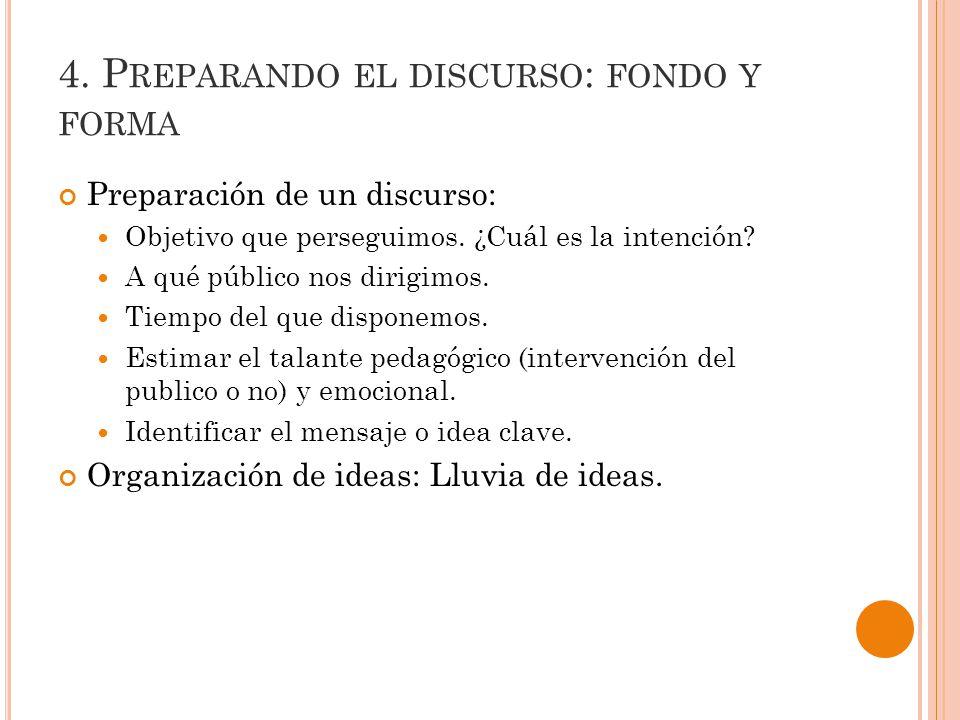 4. Preparando el discurso: fondo y forma