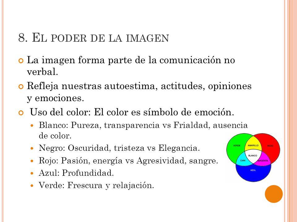 8. El poder de la imagen La imagen forma parte de la comunicación no verbal. Refleja nuestras autoestima, actitudes, opiniones y emociones.