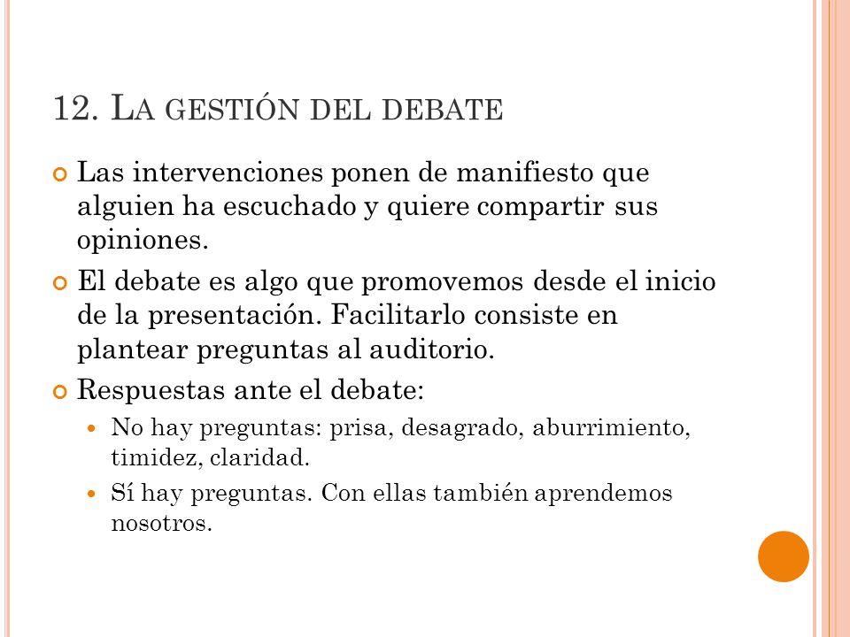 12. La gestión del debate Las intervenciones ponen de manifiesto que alguien ha escuchado y quiere compartir sus opiniones.