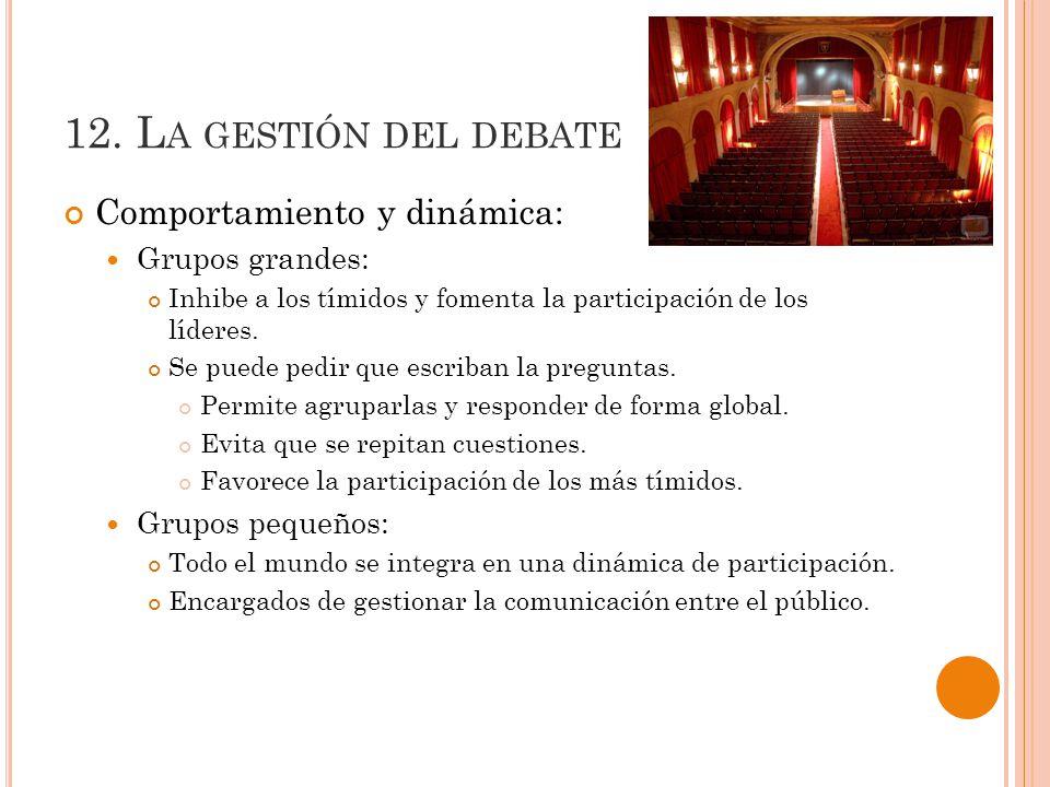 12. La gestión del debate Comportamiento y dinámica: Grupos grandes: