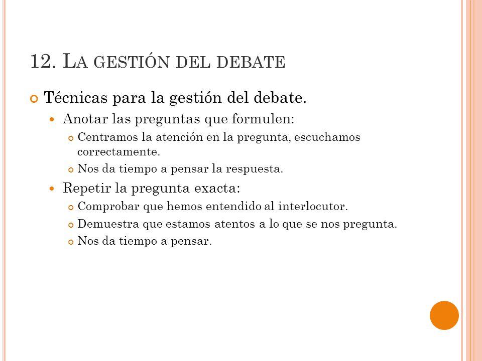 12. La gestión del debate Técnicas para la gestión del debate.
