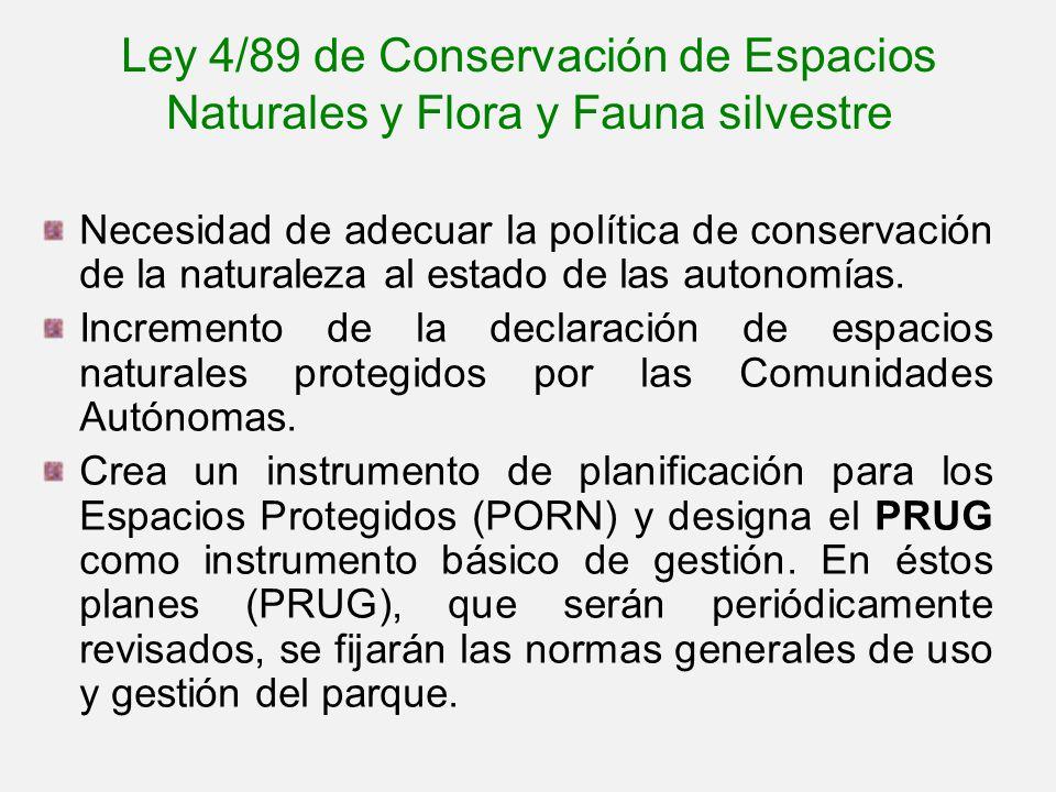 Ley 4/89 de Conservación de Espacios Naturales y Flora y Fauna silvestre