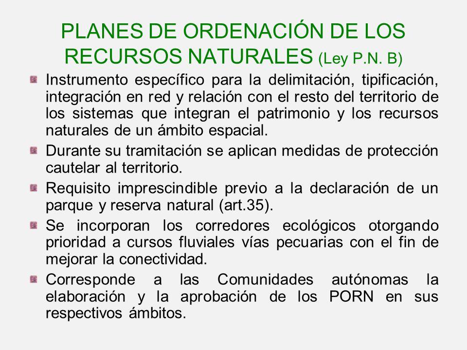PLANES DE ORDENACIÓN DE LOS RECURSOS NATURALES (Ley P.N. B)