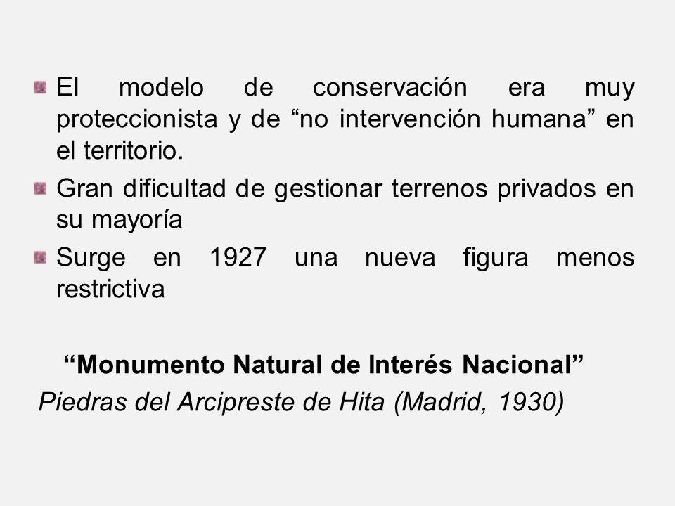 El modelo de conservación era muy proteccionista y de no intervención humana en el territorio.