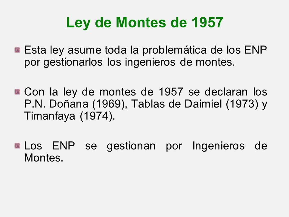 Ley de Montes de 1957 Esta ley asume toda la problemática de los ENP por gestionarlos los ingenieros de montes.