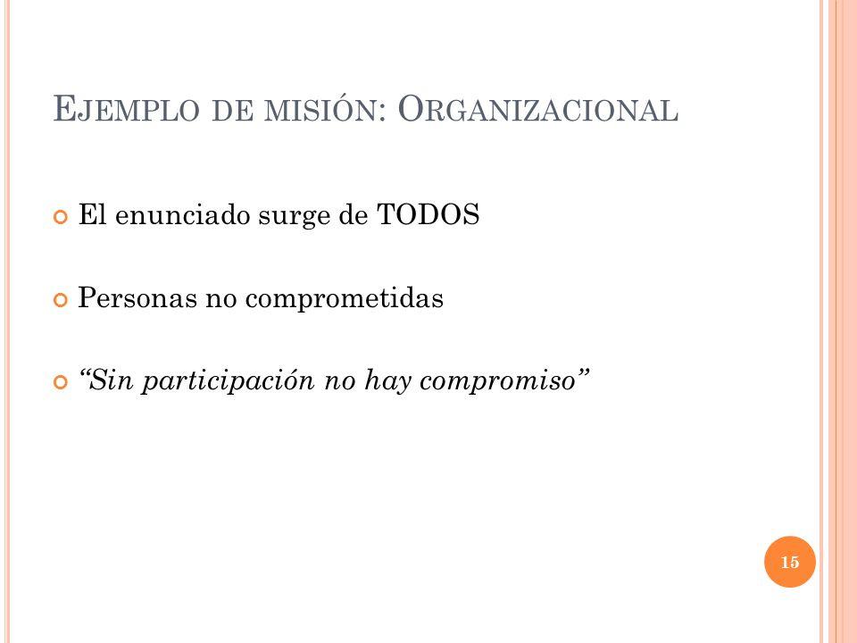 Ejemplo de misión: Organizacional