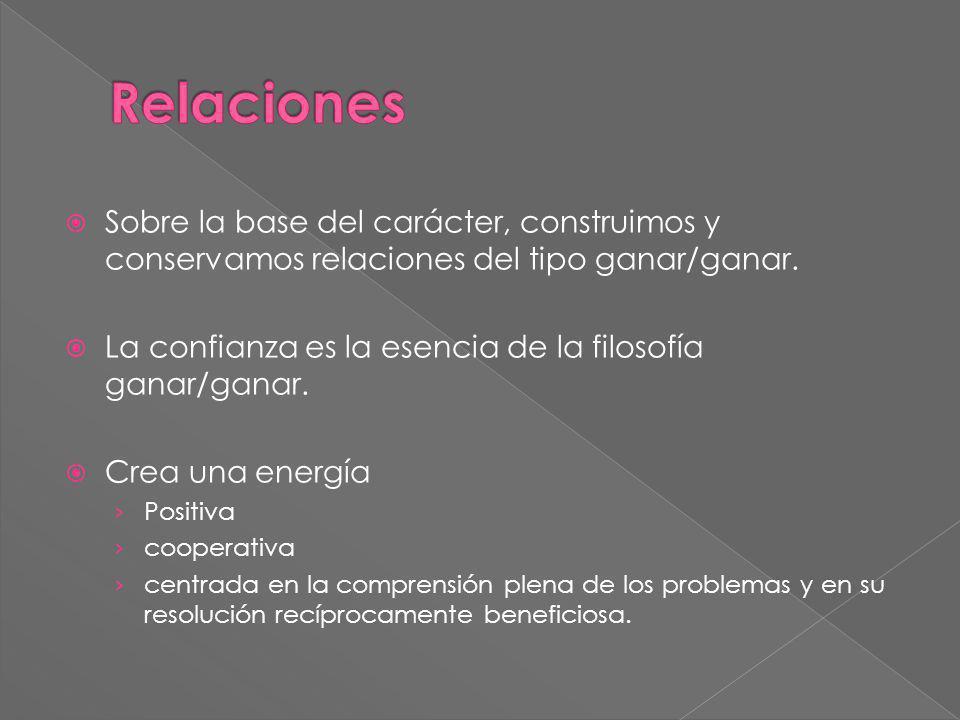 Relaciones Sobre la base del carácter, construimos y conservamos relaciones del tipo ganar/ganar.