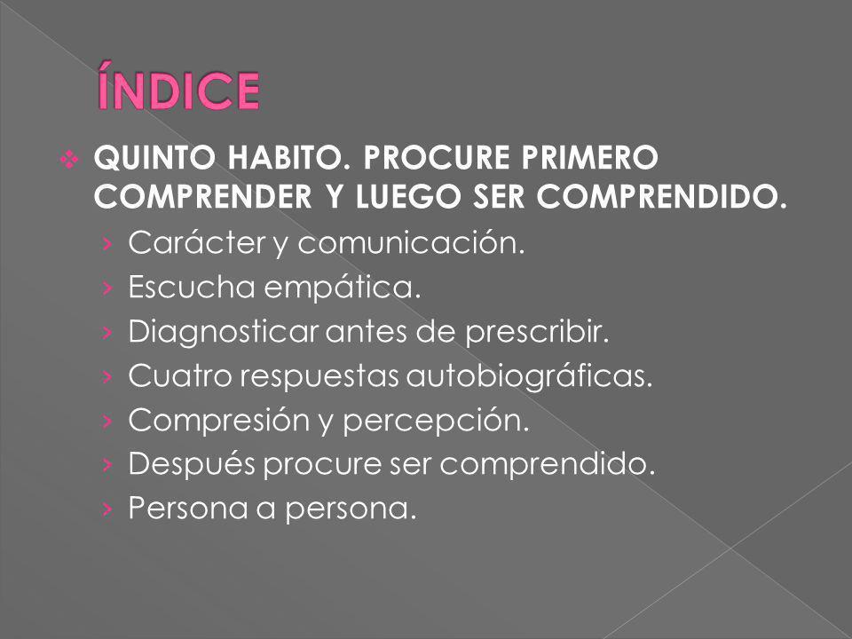 ÍNDICE QUINTO HABITO. PROCURE PRIMERO COMPRENDER Y LUEGO SER COMPRENDIDO. Carácter y comunicación.