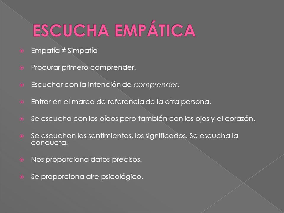 ESCUCHA EMPÁTICA Empatía ≠ Simpatía Procurar primero comprender.