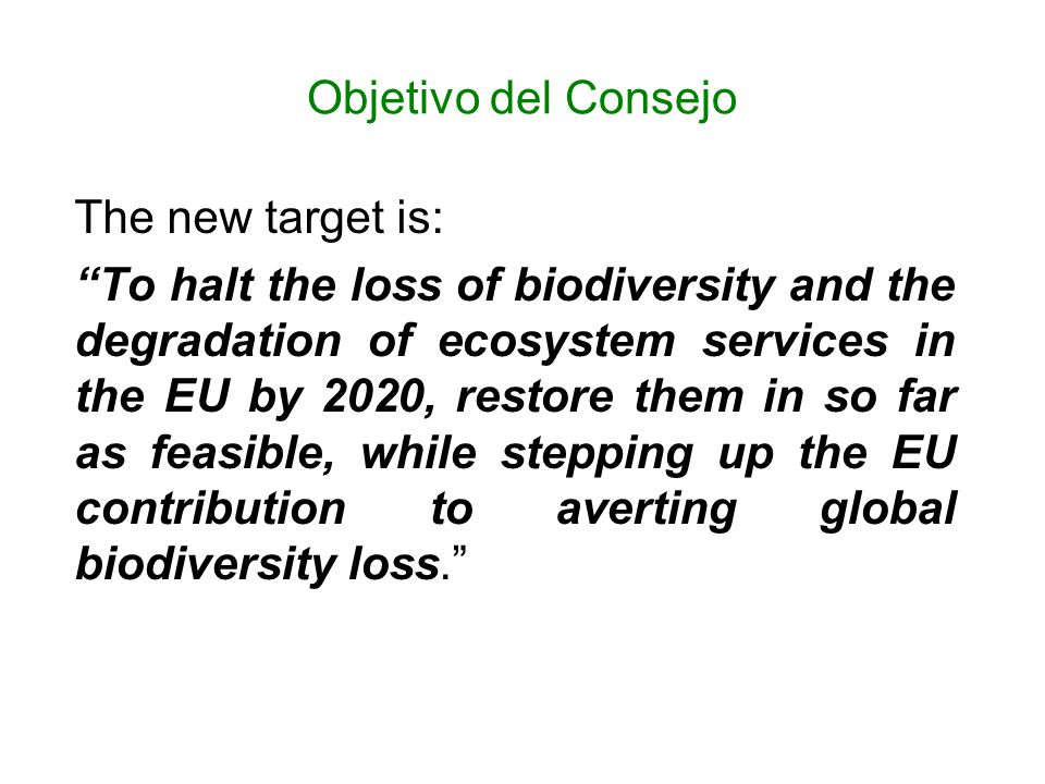 Objetivo del Consejo The new target is:
