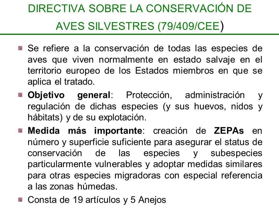 DIRECTIVA SOBRE LA CONSERVACIÓN DE AVES SILVESTRES (79/409/CEE)