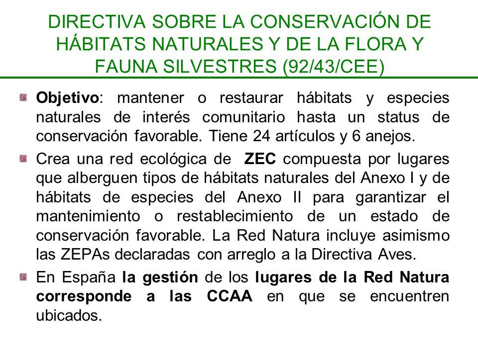 DIRECTIVA SOBRE LA CONSERVACIÓN DE HÁBITATS NATURALES Y DE LA FLORA Y FAUNA SILVESTRES (92/43/CEE)