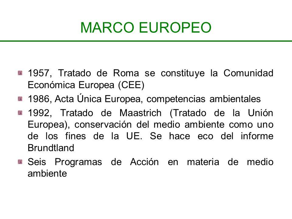 MARCO EUROPEO 1957, Tratado de Roma se constituye la Comunidad Económica Europea (CEE) 1986, Acta Única Europea, competencias ambientales.