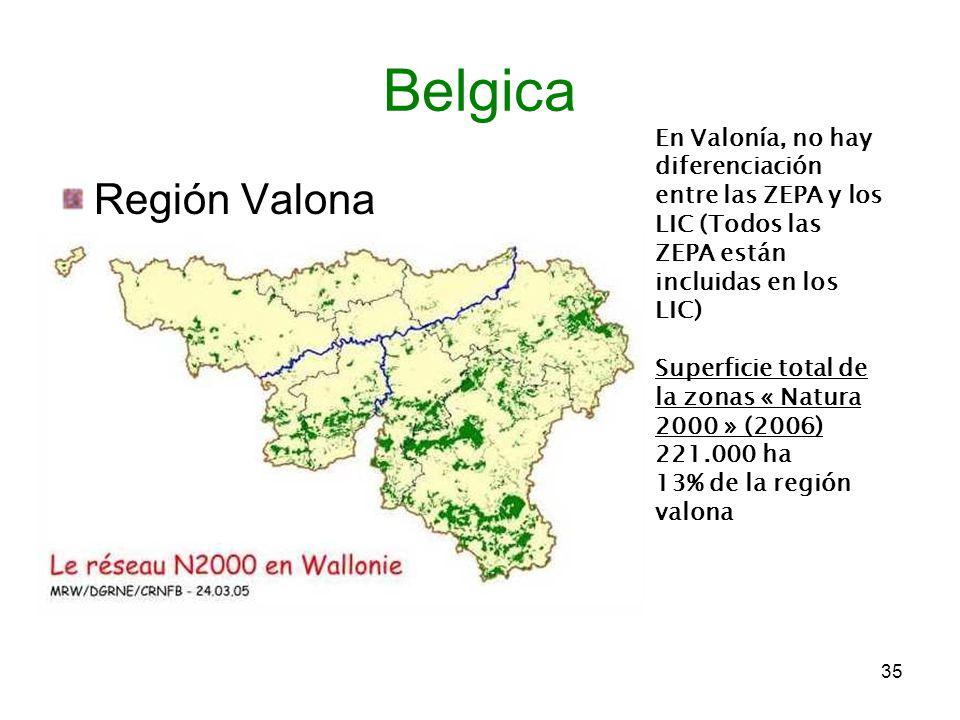 Belgica En Valonía, no hay diferenciación entre las ZEPA y los LIC (Todos las ZEPA están incluidas en los LIC)