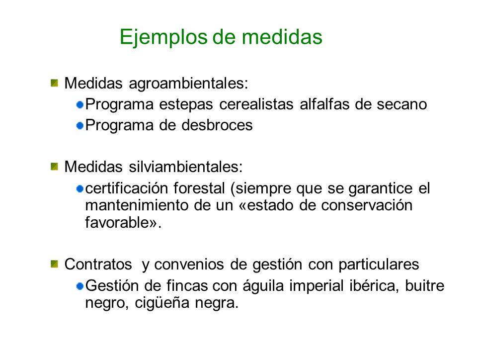 Ejemplos de medidas Medidas agroambientales: