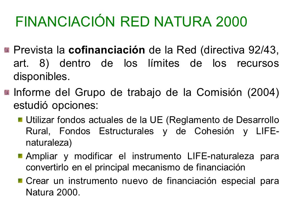 FINANCIACIÓN RED NATURA 2000