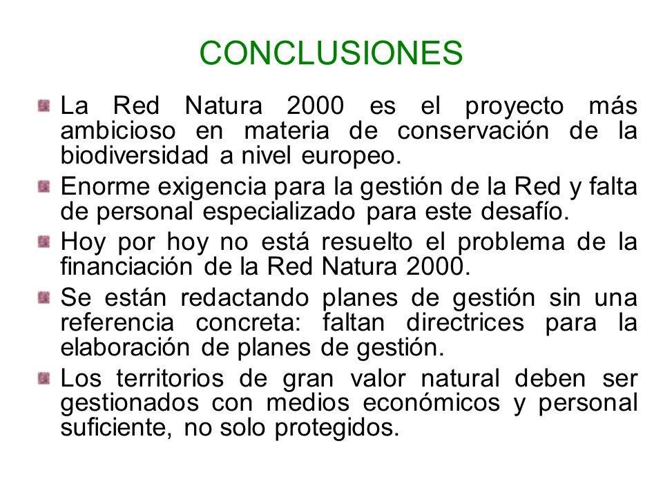CONCLUSIONES La Red Natura 2000 es el proyecto más ambicioso en materia de conservación de la biodiversidad a nivel europeo.