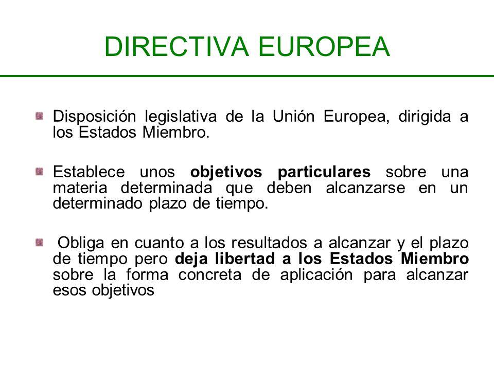 DIRECTIVA EUROPEA Disposición legislativa de la Unión Europea, dirigida a los Estados Miembro.
