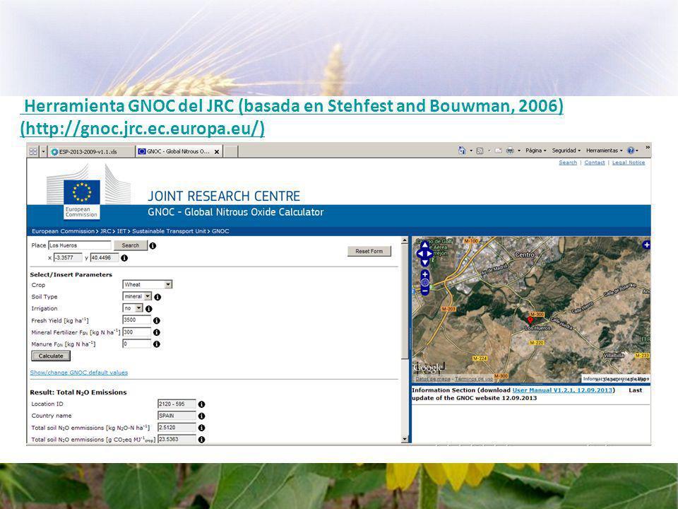 Herramienta GNOC del JRC (basada en Stehfest and Bouwman, 2006)