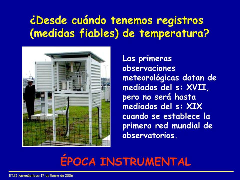 ¿Desde cuándo tenemos registros (medidas fiables) de temperatura