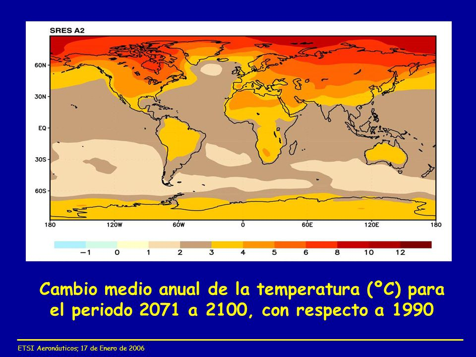 Cambio medio anual de la temperatura (ºC) para el periodo 2071 a 2100, con respecto a 1990