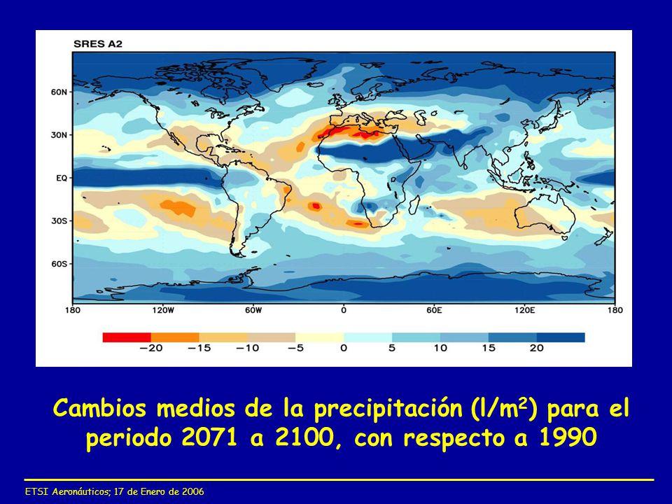 Cambios medios de la precipitación (l/m2) para el periodo 2071 a 2100, con respecto a 1990