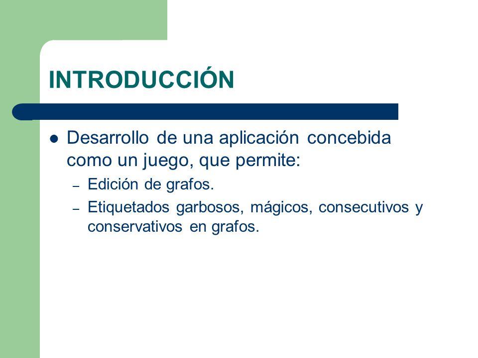 INTRODUCCIÓN Desarrollo de una aplicación concebida como un juego, que permite: Edición de grafos.
