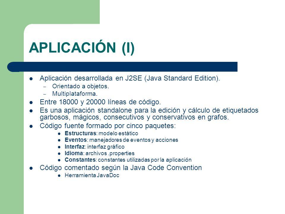 APLICACIÓN (I) Aplicación desarrollada en J2SE (Java Standard Edition). Orientado a objetos. Multiplataforma.